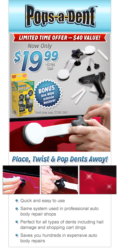 Pops a dent do it yourself vehicle dent repair kit the do it yourself dent ding repair kit solutioingenieria Images