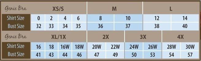 Genie Bra Ahh Size Chart