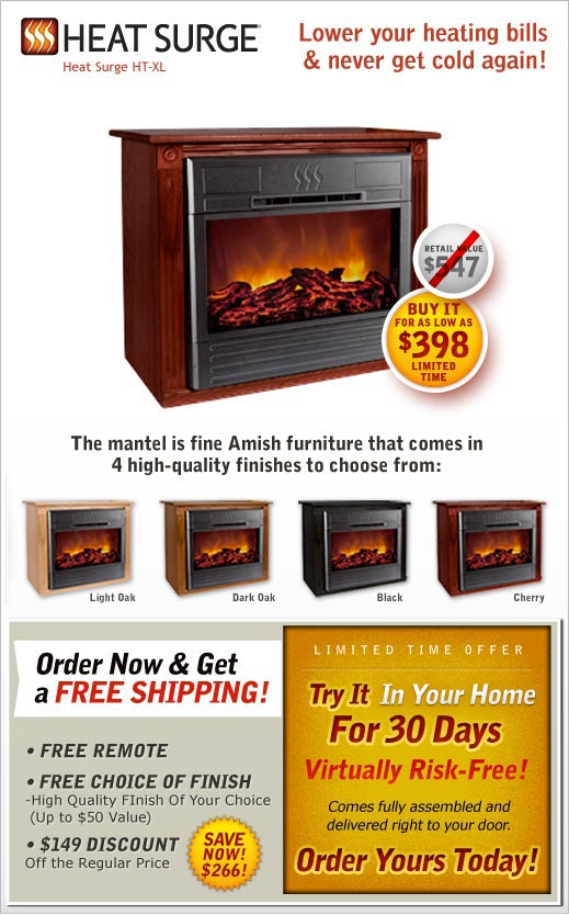 Heat Surge Electric Fireplace | As Seen on TV Canada