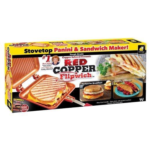 Red Copper Flipwich Press Flip Amp Cook Hot Sandwiches In